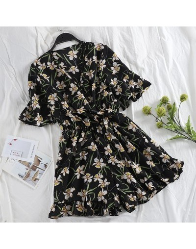 New Summer Women Chiffon Beach Playsuits V neck print floral female jumpsuits loose holiday sexy Bohemian playsuits - floral...