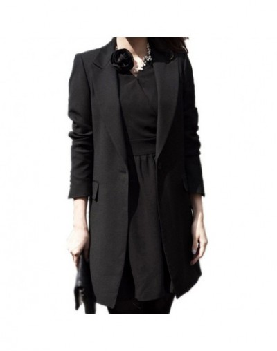 Autumn Winter Women Long Blazers Jackets Single Button Casual Solid Black Long Sleeve Blazer Coat Mujer Feminino Longo Plus ...