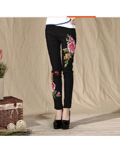 2019 Women Pants Autumn Winter Plus Size Women Trousers Casual Embroidery Floral Skinny Elastic Waist Slim Pencil Pants WR30...