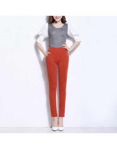 2019 Elegant Trouser Summer Women's Casual Elastic High Waist Skinny Solid Color Cropped Pants - Orange Red - 5S111114167173-3