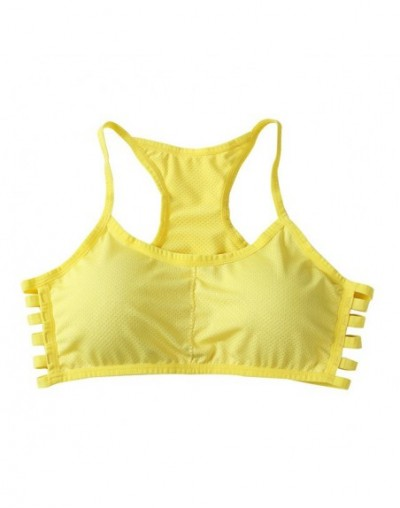 New Summer Style Fitness Bra Women Cotton Stretch No Rims Padded Colorful Crop Top Push Up Bra White Black - YELLOW - 4Z3965...