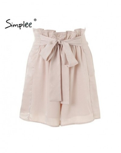 Satin ruffle bow summer shorts women Casual soft beach elastic waist shorts 2018 Chic pink loose streetwear shorts femme - B...