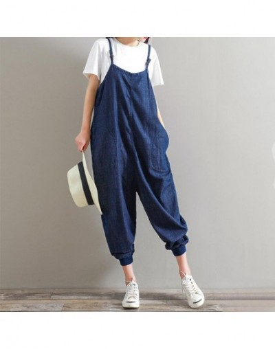 Rompers Womens Jumpsuit 2019 Summer Casual Loose Sleeveless Backless Playsuits Bottoms Pants Overalls Plus Size - Dark Blue ...