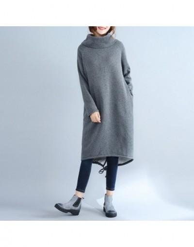 Women Casual Pullover Turtleneck Sweatshirt 2019 Fall Winter New Solid Color Long Sleeve Thicken Warm Women Sweatshirt - Gra...