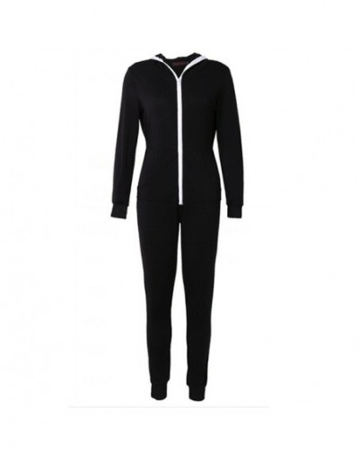 2018 Women Girls New Fashion Casual Solid Long-Sleeve Zipper Hooded Pockets Jumpsuits Hot - Black - 4A3963959526-1