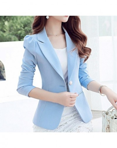Candy color solid slim ladies blazer Notched wild shoulder short blazer women Single breasted Casual basic simple monteau fe...