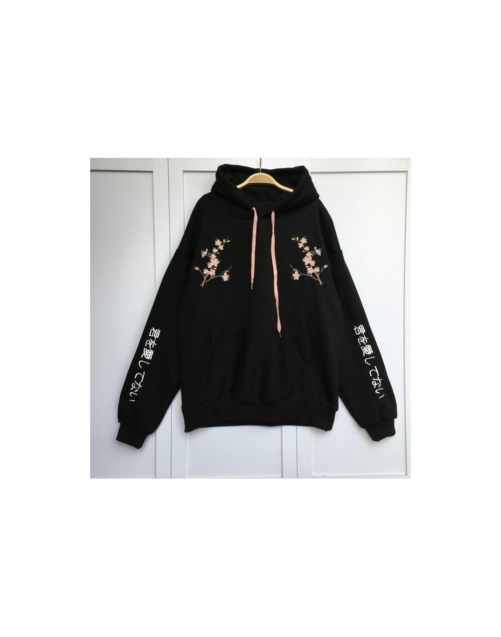 Korean Preppy Style Women Hoodies 2019 New Flower Embroidery Pullovers Casual Loose Thick Hoody Warm Coat Sweatshirt 64087 -...