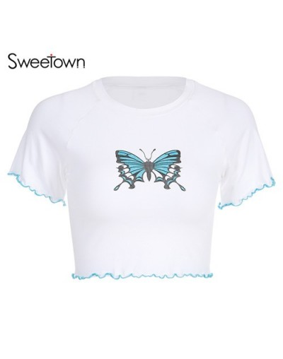 White Basic Summer Tshirt Women Cute Butterfly Cartoon Graphic T Shirts Short Sleeve Knitted Vogue Chic Cotton Top Tees - wh...
