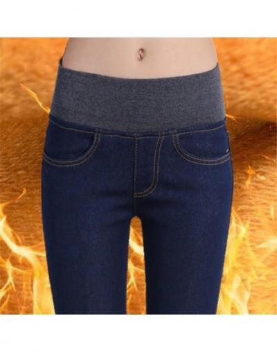 2018 Winter Warm Jeans For Women Thick Pants Female Stretch Elastic Fashion High Waist Jeans Femme Denim Skinny Denim Trouse...