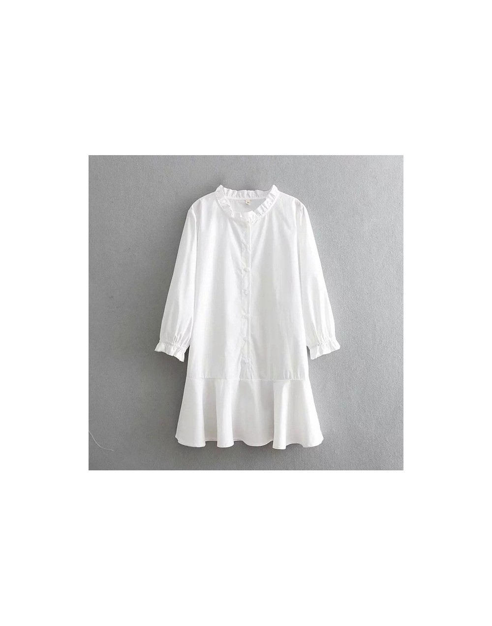 2019 Spring Long Sleeve White O Neck Collar Shirt Dress Women Casual Ruffle A Line Short Dresses Cotton Button Dress - white...
