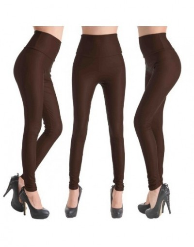 2019 New Women Sexy Leggings Faux Leather Stretch Legging High Waist Leggings Juniors Pants 4 size - NO10 Coffee - 4B3858619...