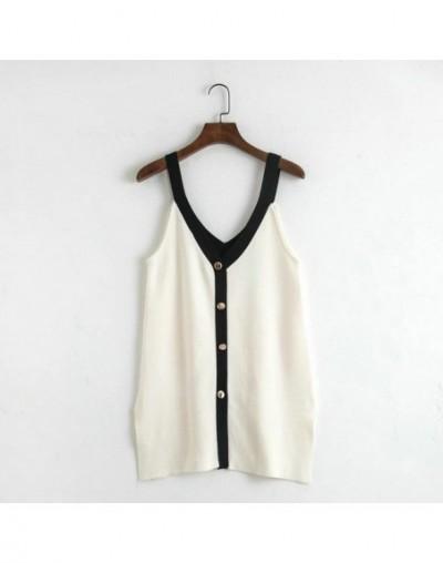 women camis sweater white button casual fashion ladies sleeveless sweater korean brand tops RY26 - White - 4O3052802496