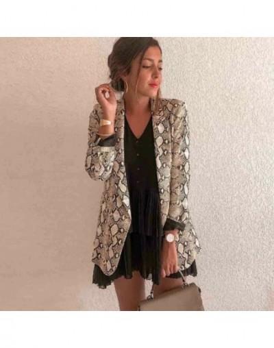 Sexy Snake Skin Long Sleeve Blazer Coat Women Elegant Fashion Slim Casual Business Blazer Suit Jacket Coat Outwear - as phot...
