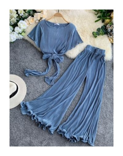 Women Flare Sleeve Bow Blouse + Pleated Pants Two Pieces Sets Ladies Draped Top Wide Leg Pant Clothing Set - Blue - 4J415048...