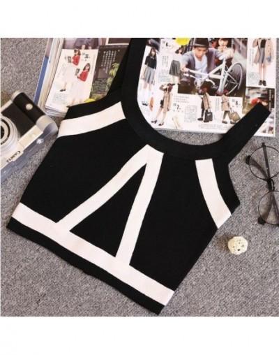 Summer Women Fashion Slim Knitting Tank Crop Tops Female Bodycon Knitted Camisole Sleeveless Short Geometric T shirts 8201 -...