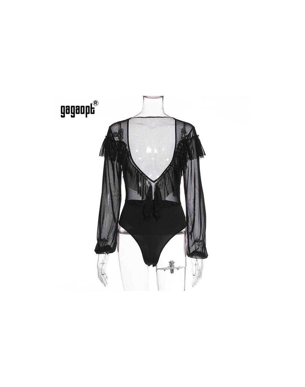 2019 Spring Lace Bodysuit Women Deep V neck Sexy Bodysuit See Through Black Bodysuit Jumpsuit Overalls Streetwear - Black - ...