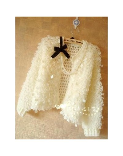 Winter Korean Women Tassel Mohair Cardigans Sweater Coat Female Long Sleeve Sequins Cadigans Jacket Tricot Femme Tops - Whit...