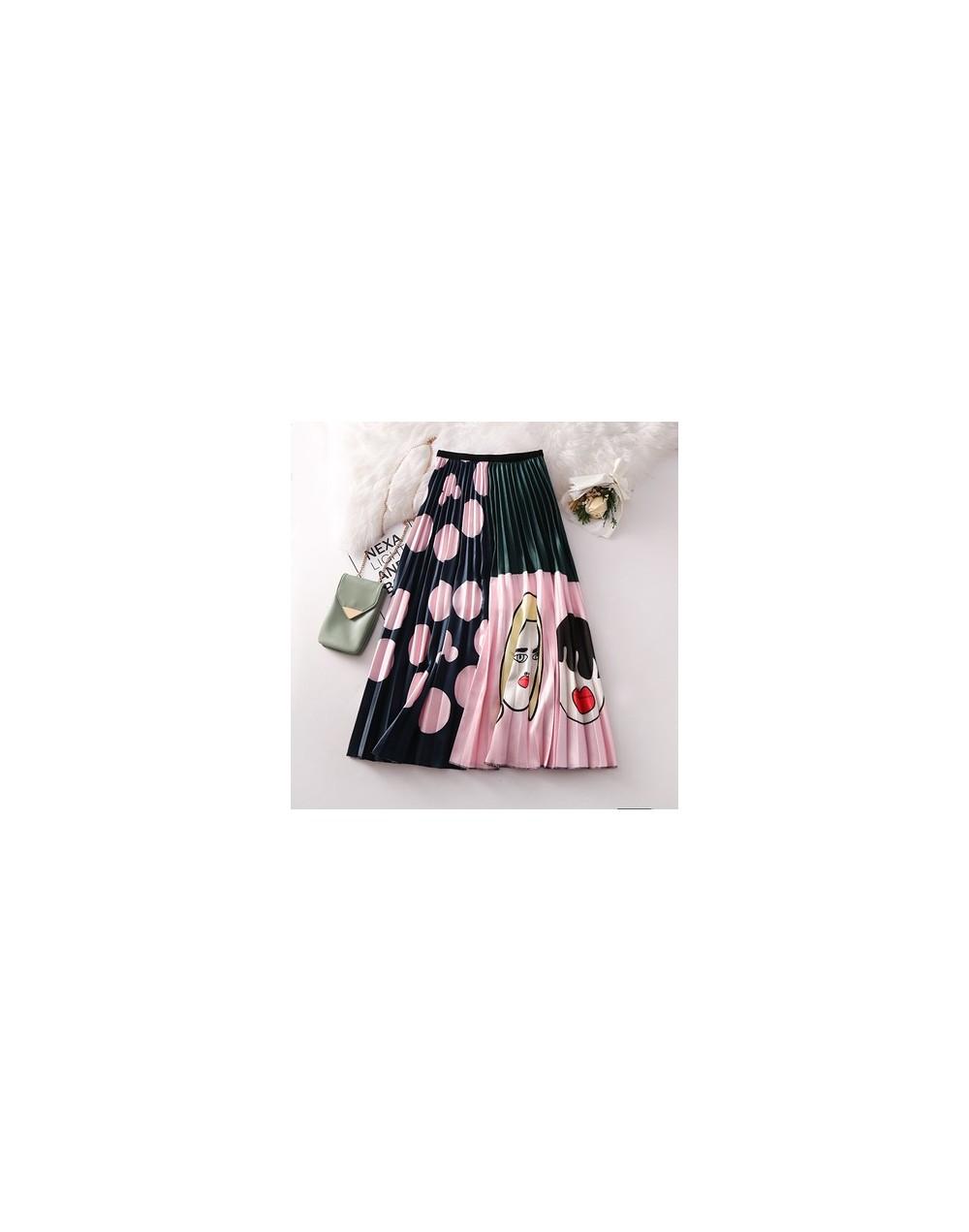 New Arrival Spring Women Cartoon Printed Elegant Pleated Long Skirts High Waist Harajuku Tulle A-Line Mid-Calf Skirts - Dots...