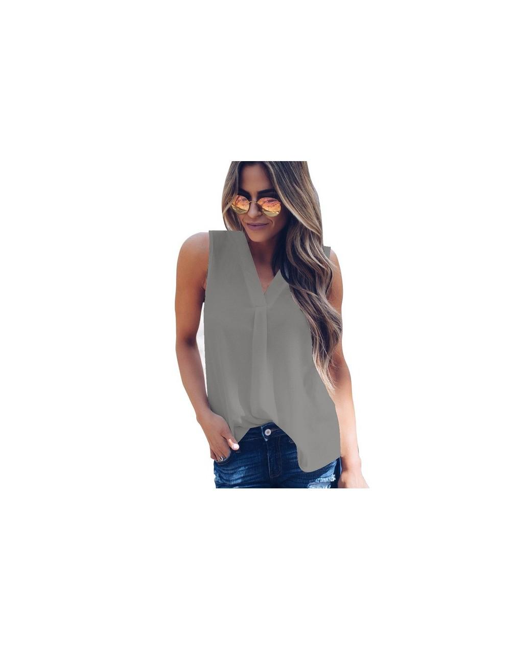 Plus Szie Sleeveless Chiffon Women Tank Summer Lady Office OL Style Solid ButtonTop Vest Casual Loose Female Tank Top S-5XL ...