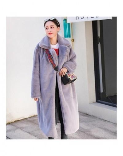 Faux Rabbit Fur Coat 2018 Winter Long Mink Fur Coat Women Loose OverCoat Luxury Thicken Warm Oversize Female Plush Coat - gr...