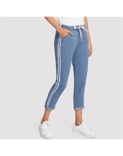 Blue Striped Side Knot Front Jeans Woman 2019 Autumn Casual Elastic Waist Pants Crop Jeans For Women Denim Trousers - Blue-1...