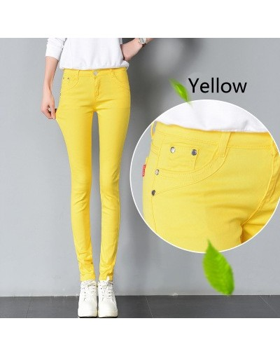 2018 Women mid waist Plus Size Candy Jeans Pencil Pants Slim Casual Female Stretch Trousers blue Jean pantalones mujer - yel...
