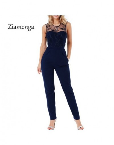 Elegant Off Shoulder Lace Rompers Womens Summer Jumpsuit Sexy Ladies Casual Long Pants Overalls For Women Jumpsuit 2018 - Bl...