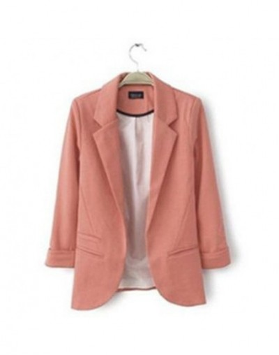2019 New Arrival Fashion 9 colors Candy Suit Slim Women Blazers Three-quarter Sleeve Casual Female jackets - Pink - 4W393433...