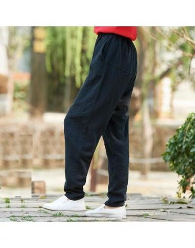 New arrival spring summer palazzo pants 100% bamboo cotton sweatpants Elastic waist trousers pencil pantalon BXF2323 - Black...