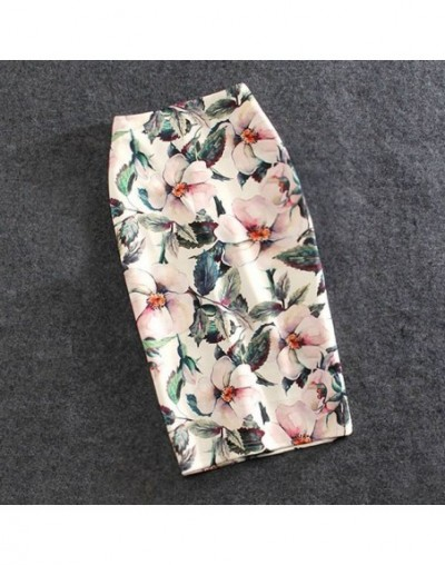 Women Skirts Casual Print Flowers Pencil Skirt Stretchy Skirts Plus Size 22Colors Faldas Mujer - 7 - 453903001622-1