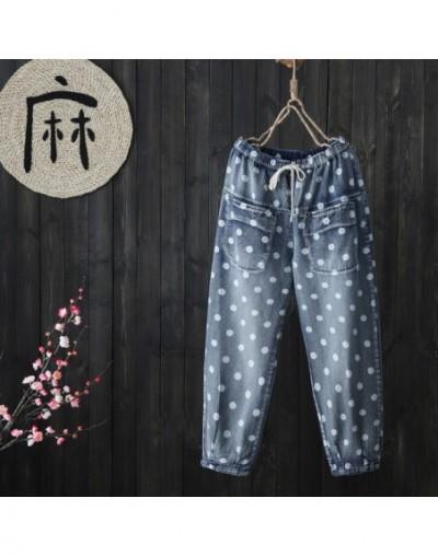 No Stock Polka Dot Straight Denim Trouser Female Pockets High Quality - Blue - 4A4111715500