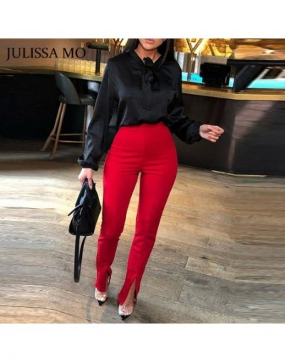 Sexy Split High Waist Pencil Pants Women Casual Elastic Waist Flare Trousers Solid Office Lady Bodycon Pants Bottoms - Red -...
