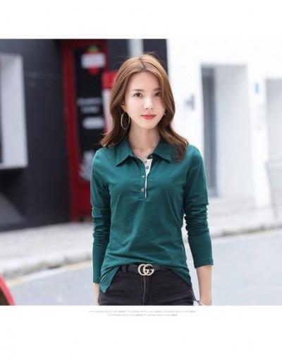 New Women Polo Shirts Cotton Women Shirts Solid Shirts Women Tops Ladies Tees Long Sleeve Turn-down Neck Buttons KQ1818-1 - ...