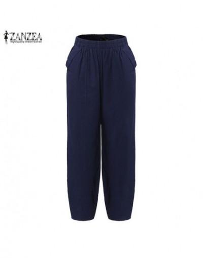 Women Pants 2019 Summer Oversized Harem Pants Casual Loose Pockets Solid Cotton Trousers Pantalon Femme Plus Size - Blue - 4...