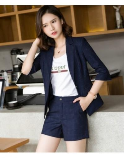Summer Business skirt suits women plaid stripe fashion half sleeve formal blazer and skirt office ladies work wear - Blue co...