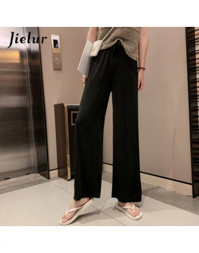 Women High Waist Pants Summer Ice Silk Knitted Straight Trousers 2019 Loose Casual Long Wide Leg Soild Color Pants Femme - B...