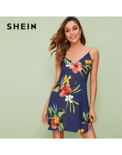 Double V Neck Floral Print Cami Summer Dress Women Sleeveles Boho Dress Spaghetti Strap Straight Beach Dress Mini Dress - 4E...