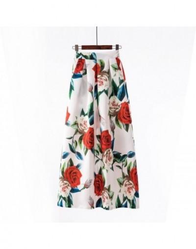 Summer Long Skirts Womens Maxi Skirt 2019 Fashion Floral Print High Waist Boho Vintage Skirt with Pockets Big Swing High Qua...