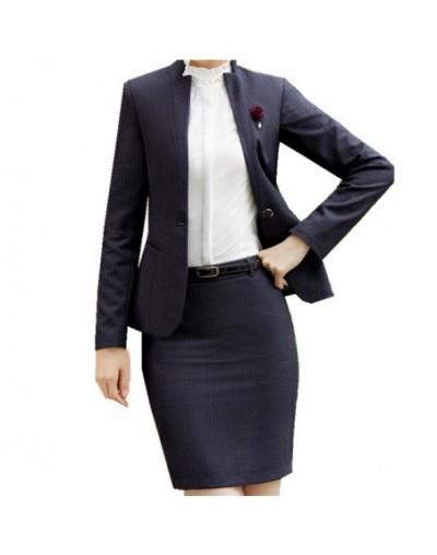 Office Uniform Stripe Skirt Suit Winter Full Sleeve Blazer Jacket+Skirt 2 Pieces Ladies Skirt Suits for Work ow0411 - grey s...