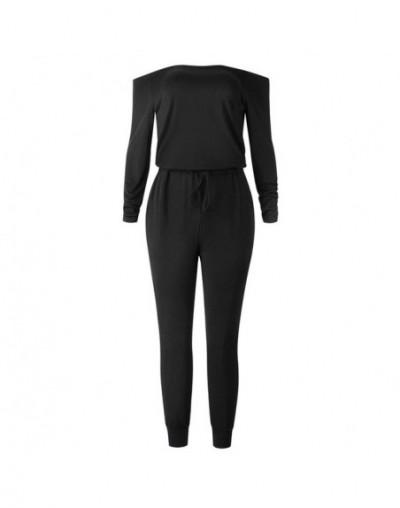 Off Shoulder Jumpsuit Women Sexy Slash Neck Cotton Rompers Autumn Long Sleeve Streetwear Pockets Playsuit With Belt Body Sui...