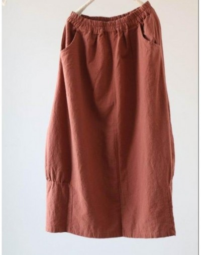 2018 Spring Vintage Original Literary Simple Thick Cotton Linen Long Skirt White Red Solid Color Mid-calf Skirts Womens - Re...
