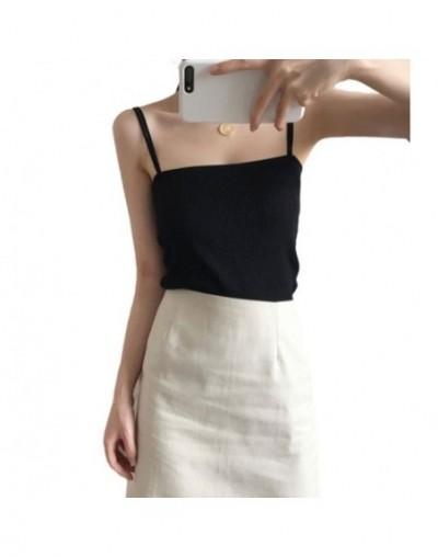 Korean Minimalist Women Sleeveless Ribbed Knit Vest Double Spaghetti Straps Plain Solid Color Camisole Casual Slim Tube Tank...