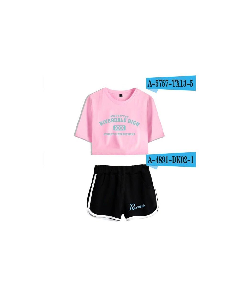 2018 riverdale t shirt Two-Piece Summer Print T-Shirt Women's Suit Fashion Top + Shorts south side serpents - Gray - 4C30860...