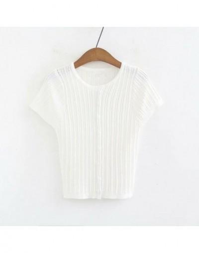 2019 Spring Autumn Women Short Slim Knitting Tops Femme Short Sleeve Cardigan Sweaters Sueter Mujer - White - 4I3077839315-3