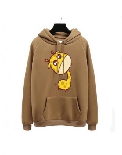 Cute giraffe Print Harajuku Hoodies Women 2018 Autumn Winter Office Lady Pullover Thick Loose Moletom Feminino Clothe Coat -...