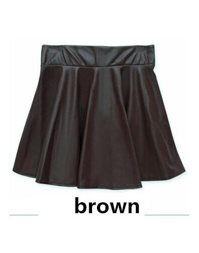 2015 Women Winter Leather Skirts Fashion Plus Size High Waist Pleated Skirts Saia Hot Sale - Brown - 4C3562436733-2