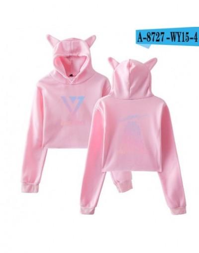 Seventeen Girls Hot Cat Ears Cap Short Sexy 2018 Hoodies Ladies Women Sexy Exposed Navel K-Pop Hip Hop Pullover Sweatshirt -...