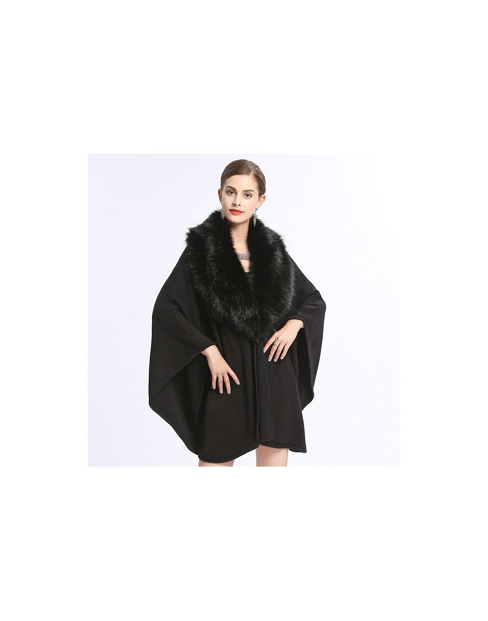 Fashion Autumn And Winter New Women Shawl Cloak Lady Fake Fox Fur Big Collar Loose Knit Poncho Cardigan Sweater - Black - 42...