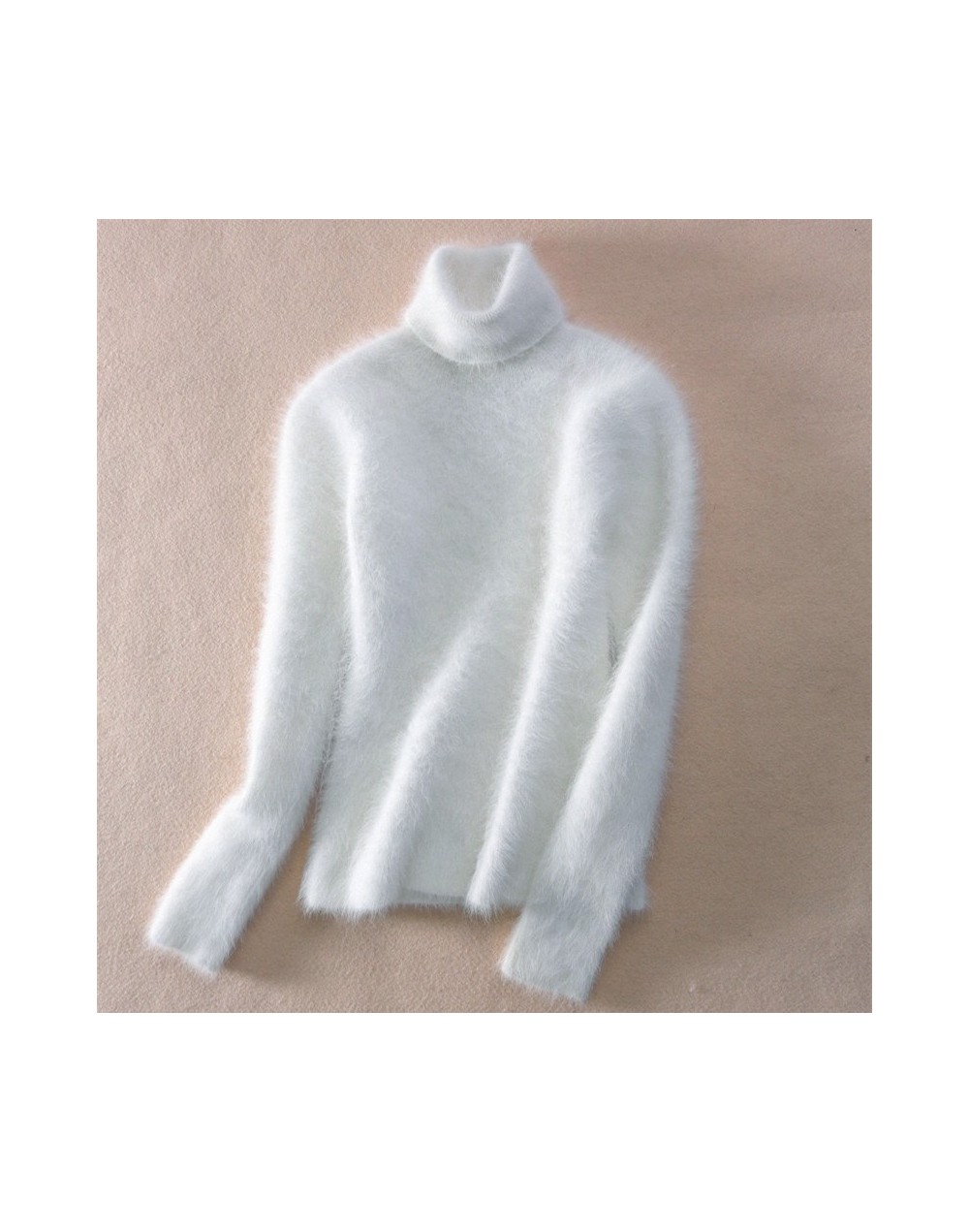 Faux Mink Cashmere Turtleneck Sweater Women 2019 Autumn Winter White Pullover Jumper Pull Femme Hiver Streetwear knitted Swe...