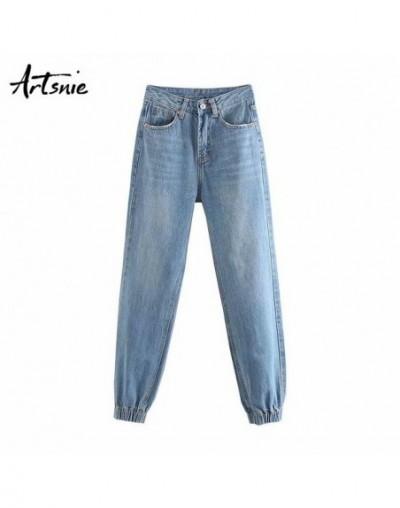 autumn 2019 blue denim pants women high waist streetwear casual zipper pockets jeans boyfriend harem pants mujer - Blue - 57...